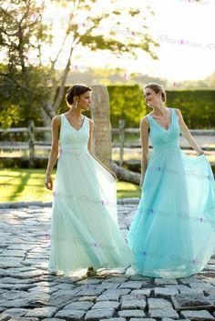 Light Blue Chiffon V-neck Long Prom Dress 2016 Bridesmaid Dress New Style on Luulla