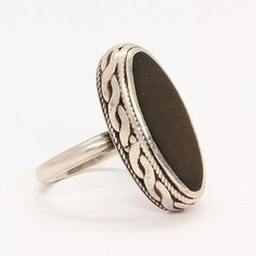 Vintage silver ring made in USSR Russian ring brown ring