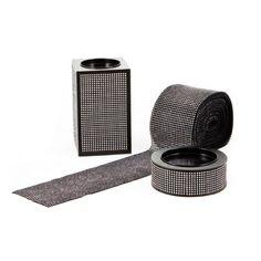 Diamond Rhinestone Ribbon Wrap Roll - Black/Silver BULK (10 yards) [Buy Diamond Crystal Mesh BLK SIL] : Wholesale Wedding Supplies, Discount Wedding Favors, Party Favors, and Bulk Event Supplies