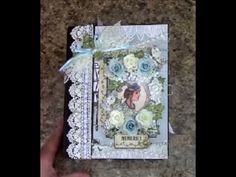 Free step by step tutorial on how to make this 8-1/2 x 6-1/2 mini album using Designs by Shellie Beauty in Blues paper collection - for beginners or seasoned...
