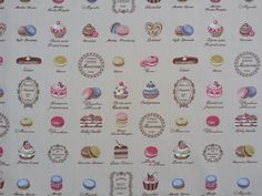 French Patisserie Macarons BEIGE cotton poplin Rose and Hubble Macaroons cakes pastry dessert shop, sewing skirts dresses dressmaking Fabric