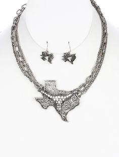 Texas Longhorn Filigree Necklace and Earrings Set