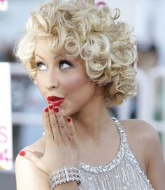 Pin Curls for Short Hair- oooh SO cute! I'd need a TON of hairspray to keep this up!