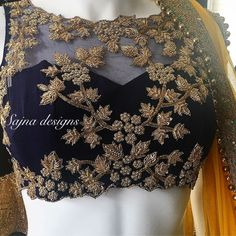 End to End Customization with Hand Embroidery & beautiful Zardosi Art by Expert & Experienced Artist That reflect in Blouse , Lehenga & Sarees Designer creativity that will sunshine You & your Party. Netted Blouse Designs, Bridal Blouse Designs, Net Blouses, Stylish Blouse Design, Choli Designs, Designer Blouse Patterns, Bollywood, Indian Designer Outfits, Indie