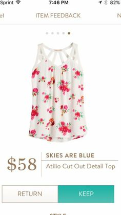 Skies Are Blue Atilio Cut Out Top.  One of the cute spring tops from Stitch FIx.  Try it out for yourself!  https://www.stitchfix.com/referral/5198264