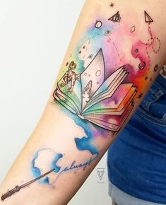 Harry Potter Tattoos, Bookish Tattoos, Literary Tattoos, Hp Tattoo, Book Tattoo, Body Art Tattoos, Small Tattoos, Sleeve Tattoos, Tatoos