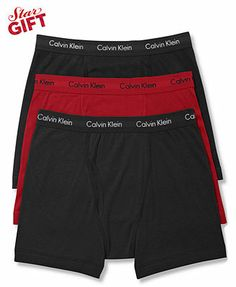 """Calvin Klein Men's Underwear, Celebrity Basic Boxer Brief 3 Pack - on sale at Macy's right now!  I need 9 total for a """"fresh start"""".  Color not important"""