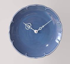 Dusty Blue Ceramic Plate Wall Clock 8-1/2 Inches Silent