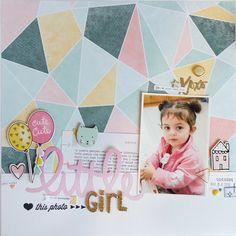 "scrapbook layout ""little girl"" by kushi | www.kkushi.com #scrapbooking #scrapbooklayout #layout12x12 #kkushi #cratepaper #silhouettecameo #cutfile #freecutfile"