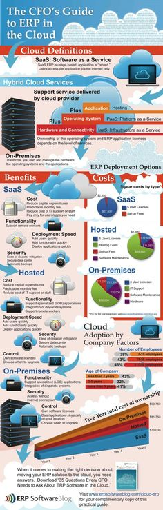 """This infographic is a visual depiction of the points covered in our popular white paper, """"35 Questions Every CFO Must Ask About ERP Software In the Cloud""""which is designed to help CFO's understand and explain the basics of ERP software in the cloud."""
