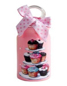 Cupcake Standlı Mini Kavanoz-Pembe Decoupage Ideas, Cupcakes, Ideas, Decorative Bottles, Canisters, Jars, Crystals, Objects, Painting On Wood