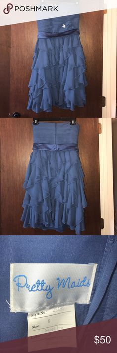 Pretty Maids brand bridesmaids dress Sapphire in color. Worn once. Needs dry cleaned. Paid $180. Dresses Strapless