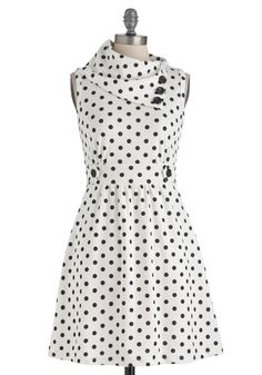 Coach Tour Dress in Dots - Short, Polka Dots, Buttons, Pockets, Party, Casual, Vintage Inspired, Sleeveless, Fall