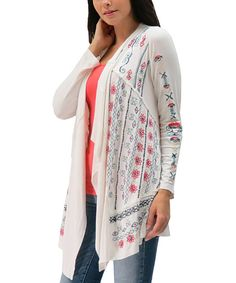 Look at this Caite Ivory Jasmine Open Cardigan on #zulily today!