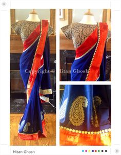 Georgette Saree with Zari embroidery blouse.