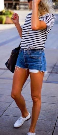 Streetvfashion ideas, denim shorts and striped top.