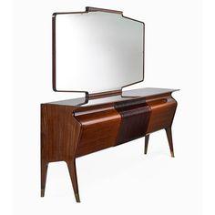 Osvaldo Borsani; Mahogany, Rosewood, Glass and Brass Cabinet, 1940s.