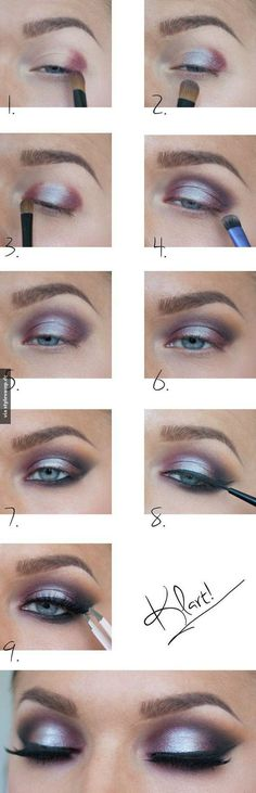 StyleVamp - Fashion, Beauty, Trends Make Up Tutorials, Party Eyes, Makeup Tools, Makeup Ideas, Human Ear, Eye Makeup, Stylish, Purple, Wedding Ideas