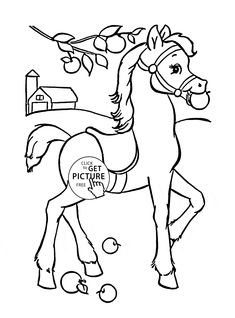 Funny Horse Coloring Page For Kids, Animal Coloring Pages Printables Free    Wuppsy.com