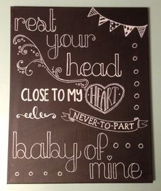 Baby Mine Hand Painted Chalkboard Art - Baby Shower Gift, Nursery or Playroom Decor on Etsy, $38.00