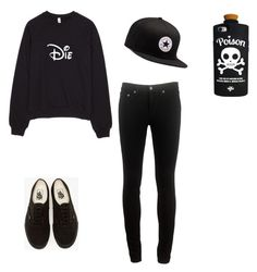 """""""Black Out ✖️"""" by darkenedroses on Polyvore featuring rag & bone, Vans, Valfré and Converse"""