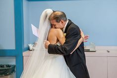 "Emotional ""first look"" with a bride and her dad"
