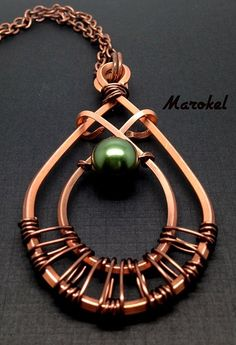 May's Tear Copper Necklace Wire Wrapped Pearl Emerald Forest Green Tea