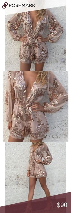 White Fox In My Dreams Romper in Rose Gold This piece is a total showstopper✨. Tan mesh with super sparkly gold sequin beading. Tassel tie at the waist. Lined on the body but sheer on the sleeves. True to size. White Fox brand, tagged as Free People for exposure only. Free People Pants Jumpsuits & Rompers
