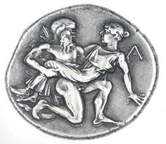 Silver Stater c. 435-411 BC. Abduction of a nymph by a silenos