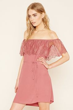 Forever 21 Contemporary - A woven dress with an elasticized neckline, a flounce-layered bodice crafted from eyelash lace, a removable skinny sash belt, and off-the-shoulder short sleeves.