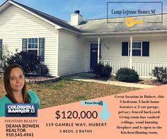 Today's Featured Home!!   119 Gamble Way, Hubert ~ ***PRICE REDUCED***  NOW---> $120,000  http://www.zillow.com/homedetails/119-Gamble-Way-Hubert-NC-28539/102207259_zpid/