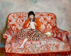 LEBASQUE (1865-1937) - Girl Sewing on a Sofa