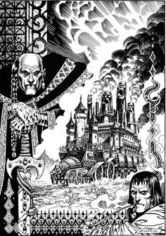 Enrique Alcatena, The Moving Fortress. Black White Art, Black And White Drawing, Comic Kunst, Comic Art, Star Wars Episode Iv, Ink Pen Drawings, Jack Kirby, Art And Illustration, Cartography
