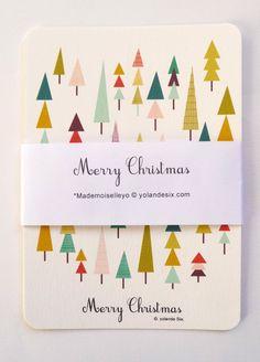Cartes de voeux, Merry Christmas, 10,5 x15 cm : Cartes par mademoiselleyo