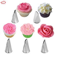 5Pcs/Set Stainless Steel Icing Piping Nozzles Flower Petal Cake Decorating Tips