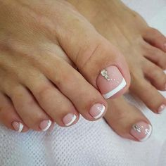Elegant French Pedicure with Rhinestones