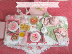 Tea  PartyDollhouse Miniature 112 by RibbonwoodCottage on Etsy, $99.00