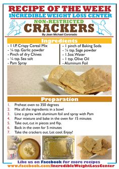 Good morning Ideal Protein pals! Are you missing crackers like some of my dieters? Well then I have just the solution for you: Ideal Protein Crispy Cereal crackers! These delicious crackers could be a breakfast or could be a snack! The trick with the crackers is to cut them in pieces before putting them back in the oven, that makes them a bit crunchy! Ideal Protein of Groton, CT / Incredible Weight Loss Center