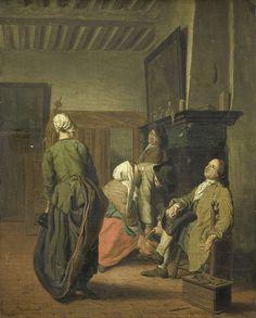 Jan Josef Horemans (II) | A Merry Party, Jan Josef Horemans (II), 1740 - 1760 | Interieur met twee vrouwen en drie mannen rond een haard. Links een staande vrouw met een fles, rechts een zittend man met een pijp in de hand. Voor de haard een voorovergebogen man bij een knielende vrouw. Op de schoorsteenmantel een schilderij.