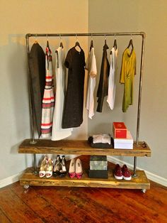 Clothing rack and shelving by LaundryRoomDesign on Etsy