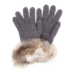 INVERNI Wool-Cashmere Gloves with Fur Trim ($280) ❤ liked on Polyvore featuring accessories, gloves, wool gloves, fur trimmed gloves, woolen gloves, cashmere gloves en inverni
