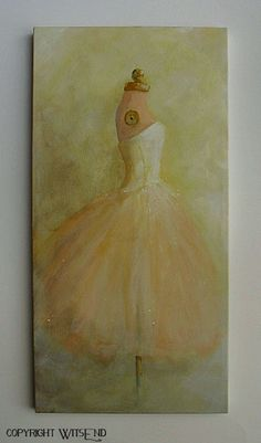 'ONCE, A BALLERINA', ballet Tutu painting original ooak canvas still life by 4WitsEnd via Etsy