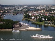 Mosel River joining the Rhine River in Koblenz in Germany