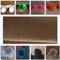 Roman blind hessian burlap made to measure with large velvet pom poms 8 colours! #Handmade #Contemporary
