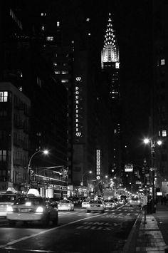 New York City Photography  Big City Nights  - Lexington Avenue and The Chrysler Building