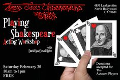 Next weekend I'm conducing an acting workshop focusing on Shakespeare. For those of you who don't know, I have a BA in Theatre Arts and g. Acting Workshops, North Hollywood, Shakespeare, Play, Glasses, Night, Eyewear, Eyeglasses, Eye Glasses