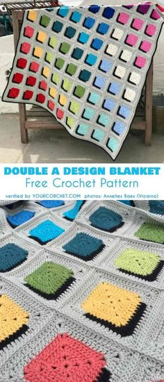 Baby Knitting Pattern Double A Design Blanket Free Crochet Pattern Motifs Granny Square, Granny Square Crochet Pattern, Crochet Afghans, Crochet Squares, Crochet Blanket Patterns, Baby Blanket Crochet, Baby Knitting Patterns, Crochet Stitches, Free Crochet