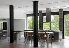 modern kitchen with exposed steel columns