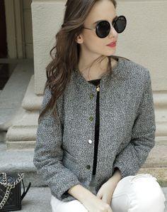 Gray Solid Crewneck Wool Blend Jacket, Gray, Irina Miro | VIPme