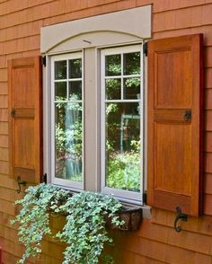 Stained Cedar Flat Panel Exterior Shutters